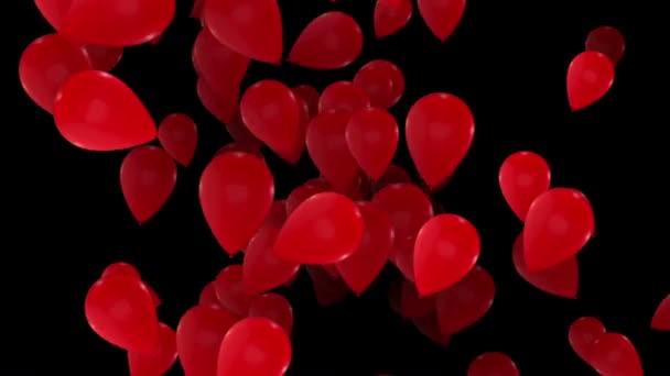 Abstraktní létání, otočení balónky v červené barvě