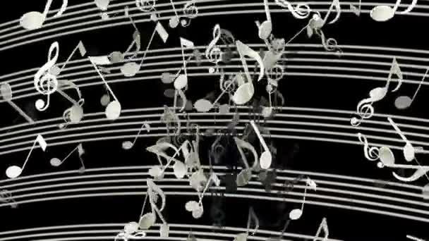 abstrakte fliegende Musiknoten in weißer Farbe auf schwarz