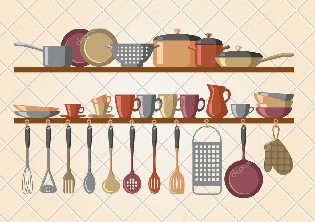 Mensole da cucina retrò e utensili da cucinare — Vettoriali ...