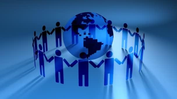 az emberek kezét a Föld körül
