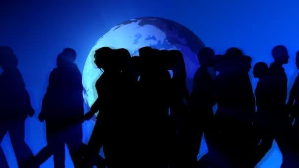 People Walking by World Globe