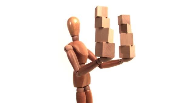 Mannequin Holding Wood Blocks
