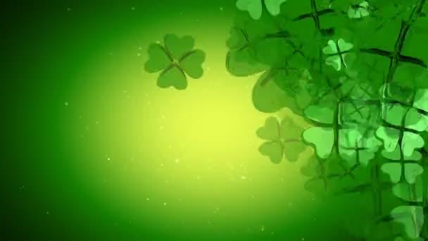 St. Patrick je den - zelená čtyři Leaf Clover animace