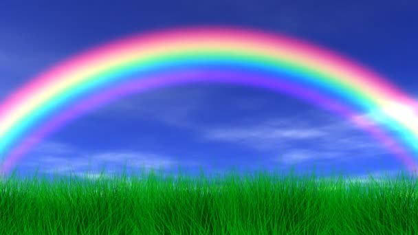 Duha, trávy  mírové nebe