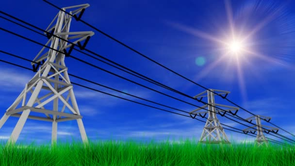 Power Lines,  Grass and Sunny Sky