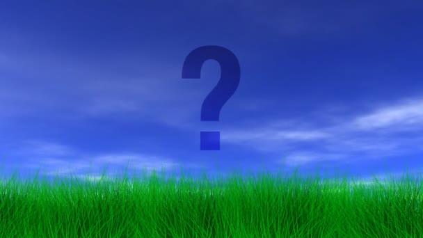 Question Mark,  Green Grass  Blue Sky