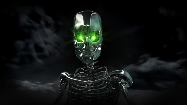Android lidský kyborg se zelenýma očima