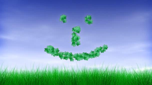 Green Leaf Happy Face Emoticon :-)