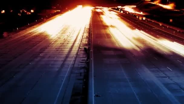 Dálnice dopravní noční Time-lapse