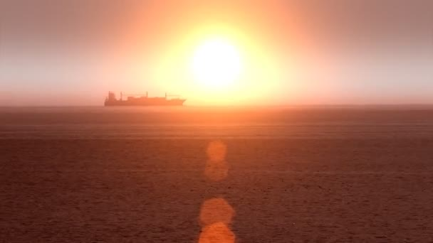 Velké nákladní lodní člun přes oceán