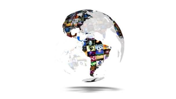 Mapa země globální mediální video zeď