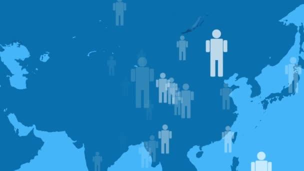 Icon-Menschen, die sich auf der Weltkarte bewegen