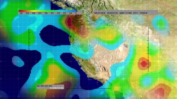 Weather Radar Digital Satellite Map Western US Stock Video - Digital satellite map