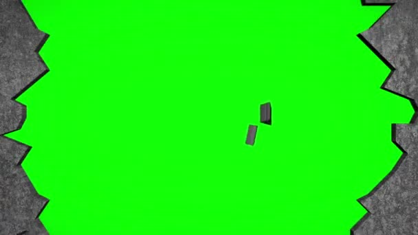 Breaking Through Concrete Wall with Hammer (Chroma Key)
