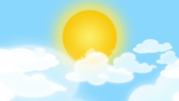 Karikatura, slunce, mraky a modrá obloha