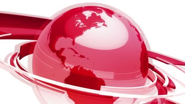 Animace zeměkoule na zeměkouli (svět 3D červeného skla)