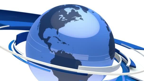 Earth Globe Animation (3D Blue Glass World)