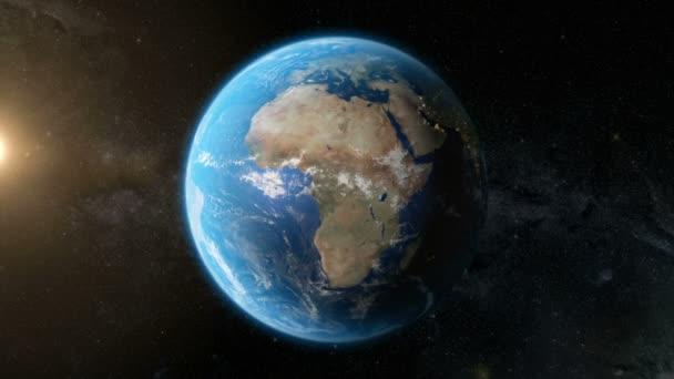 Föld keringési pálya Night - Nagyvárosi fények az űrből (a nap) 4k