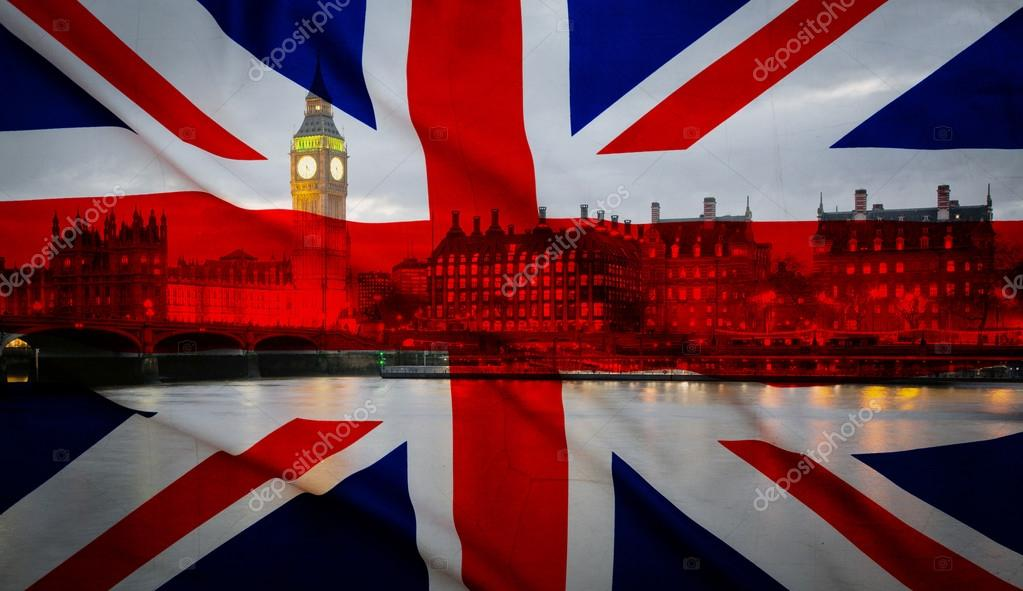 brexit union jack flag and big ben in the background the uk