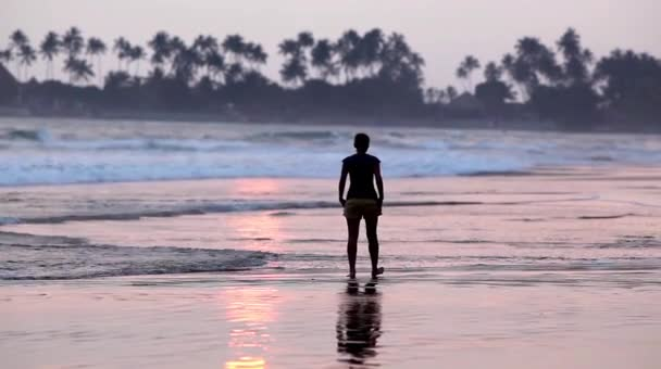Woman walking on the beach at sunset, Sri Lanka