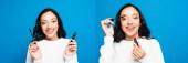Collage einer glücklichen brünetten Frau mit Lippenstift und Wimperntusche auf blauem Grund