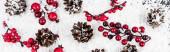 Top kilátás fenyőtoboz és ágak piros gyöngyök fehér texturált háttér, banner