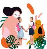 multikulturális iskolás lányok hátizsákkal fogja a kezét, és nézi kamera közelében mágikus karakterek illusztráció fehér