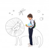 side view of curly schoolboy with backpack and book holding apple near magic characters illustration on white