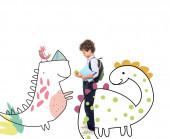 side view iskolás fiú hátizsák és könyv gazdaság alma közel mágikus karakterek illusztráció fehér