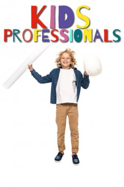 Curly boy in costume of architect holding safety helmet and blueprint while jumping near kids professionals lettering on white stock vector