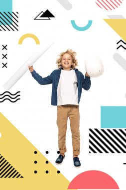 Curly boy in costume of architect holding safety helmet and blueprint while jumping near illustration on white stock vector