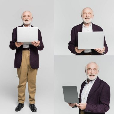 Collage of smiling senior man holding laptop on grey background stock vector