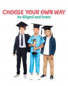děti v maturitní čepice oblečené v kostýmech různých profesí držící zlatou trofej v blízkosti vyberte si vlastní cestu být pilný a statečný nápis na bílém