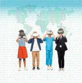 multicultural children dressed in costumes of different professions touching virtual reality headsets near map illustration on white