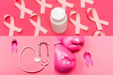 Collage of jar with pills, pink ribbons of breast cancer awareness and stethoscope on pink background stock vector