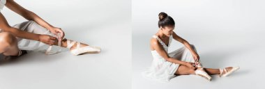 Collage of graceful african american ballerina in dress adjusting pointe shoes on white background, banner stock vector