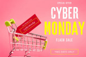 red tag with use promo code cybr mndy lettering in small shopping trolley on pink