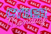 Aufkleber mit verkaufsnahem Cyber-Monday-Schriftzug auf rosa, schwarzem Freitag-Konzept