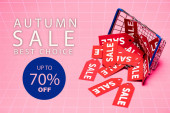 Verkaufsetiketten in der Nähe von Warenkorb und Herbstverkauf, beste Wahl, bis zu 70 Prozent Rabatt auf Schriftzüge auf rosa, Black Friday Konzept