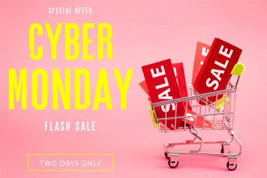 Red labels with sale in small shopping trolley near special offer, cyber monday lettering on pink stock vector