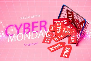 Sale tags near shopping basket and special offers, cyber monday, shop now lettering on pink, black friday concept stock vector