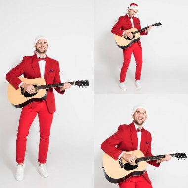 Collage of cheerful man in santa hat playing acoustic guitar on grey background