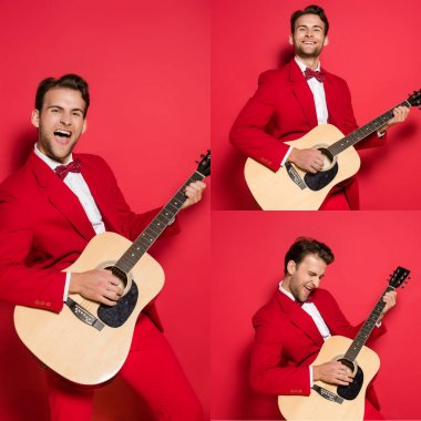 Collage of cheerful man in suit playing acoustic guitar on red background