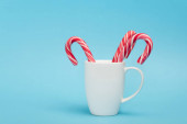 candy canes in white mug on blue background