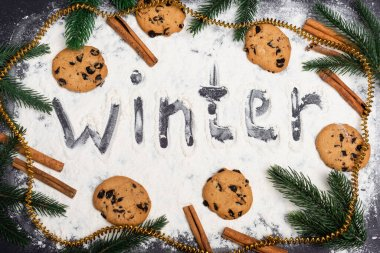 Top view of word winter, fir branches and chocolate cookies on black background stock vector