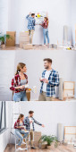 collage of young man and woman removing picture, talking and drinking coffee at home