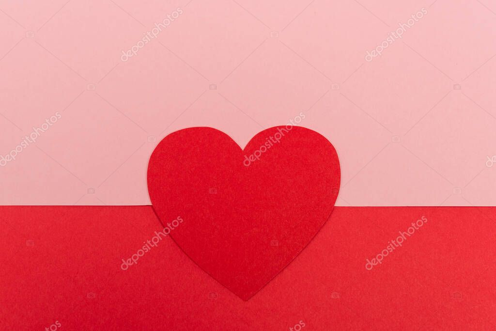 Top view of paper heart on red and pink background stock vector