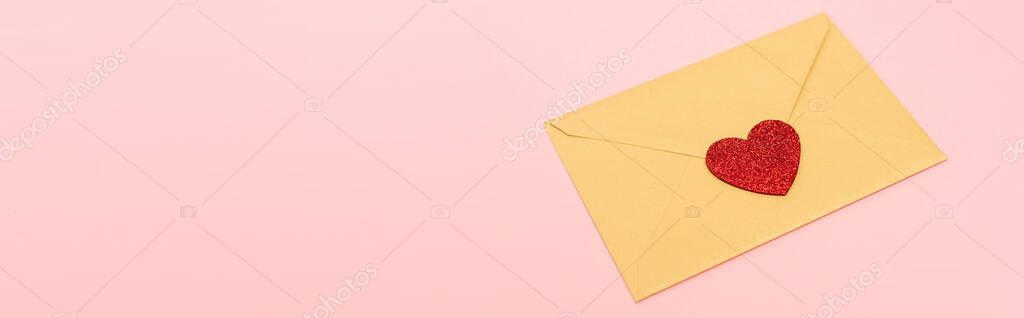 Top view of red heart on envelope isolated on pink, banner stock vector