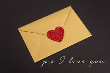 Valentines envelope with heart near ps i love you lettering on black stock vector