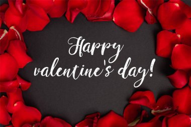 Top view of happy valentines day lettering in frame with rose petals on black stock vector